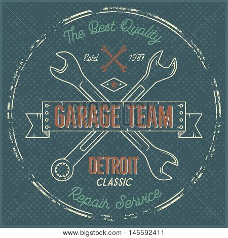 Garage service vintage label, tee design. Detroit classic, repair service typography print. T-shirt stamp, teeshirt graphic, premium retro artwork. Use also as emblem, logo on web projects. Vector.