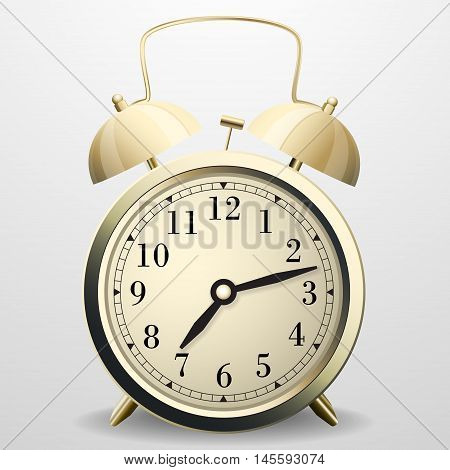 Alarm clock. Mechanical table clock with arrows, dial and metal bell percussion.