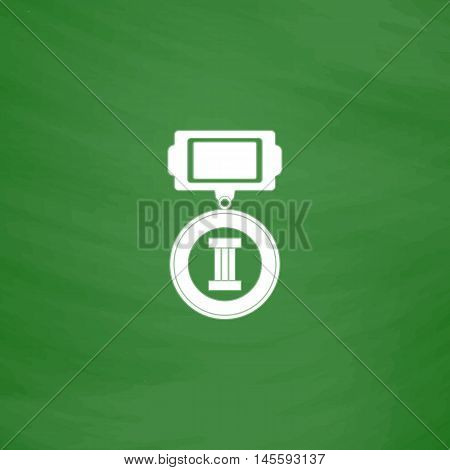 Medal Simple vector button. Imitation draw icon with white chalk on blackboard. Flat Pictogram and School board background. Illustration symbol