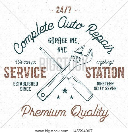 Service station vintage label, tee design graphics, complete auto repair service typography print. Custom t-shirt stamp, teeshirt graphic. Use as tee shirt print, emblem, logo on web. Vector.