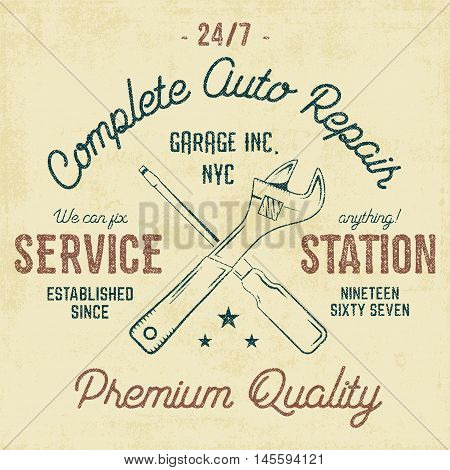 Service station vintage label, tee design graphics, auto repair service typography print. T-shirt stamp, teeshirt graphic, premium retro artwork. Use as tee shirt print, emblem, logo on web. Vector.