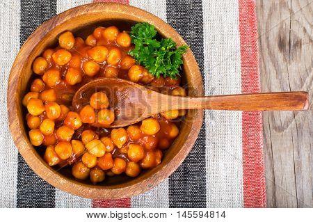 Nut in Sauce Harissa Studio Photo on Wood Background