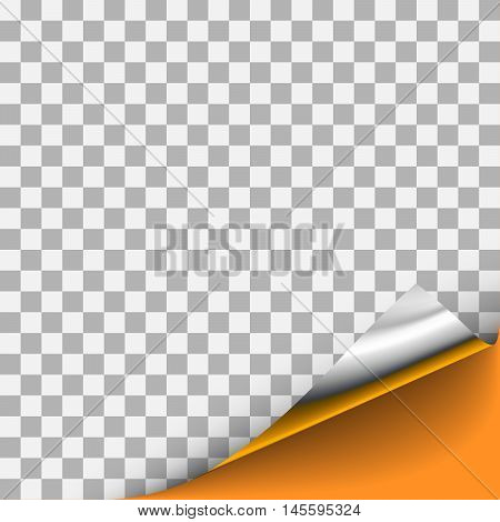 Silver curled corner with orange background. For page design with curled corner, document design with curled corner, web graphic with curled corner, banner, flyer design with curled corner.