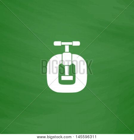 Vice Simple vector button. Imitation draw icon with white chalk on blackboard. Flat Pictogram and School board background. Illustration symbol