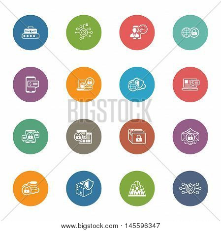 Flat Design Security and Protection Icons Set. Isolated Illustration. App Symbol or UI element. Personal Access and Assistence Symbol, Global Safety and Security Symbol, Payment Security Symbol.