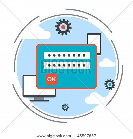 Computer security, data protection, blocking unauthorized access, information guard flat design style vector concept