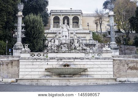 Italy, Rome, 13 December 2015 - Art in Piazza del Popolo, Neptune Fountain