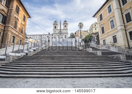 Italy, Rome, 13 December 2015 - The Spanish Steps is closed for renovations. The cost is about €.15 mln (entirely funded by BVULGARI) and the end of work is planned for August 2016