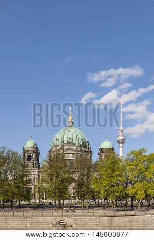 View To Berlin Dome With River Spree