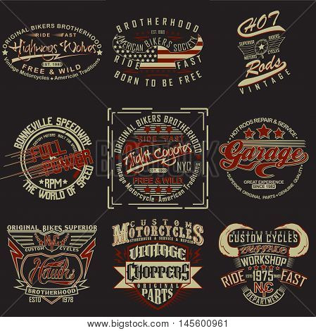 set of  t-shirt graphic designs,  vintage print stamps, typography emblems of garage or brotherhoods bikers, Creative design, Vector