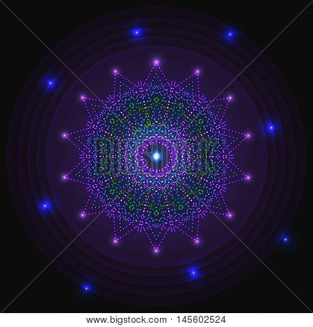 Flickering neon glowing circle of light bulbs