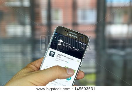 MONTREAL CANADA - August 8 2016 - Amazon AppStream mobile app on screen of Samsung S7 in hand. It is a flexible low-latency service that allows stream resource intensive applications from the cloud