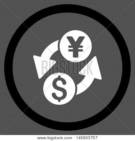 Dollar Yen Exchange vector bicolor rounded icon. Image style is a flat icon symbol inside a circle, black and white colors, gray background.
