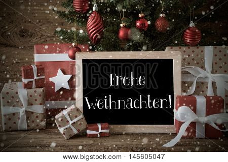 Nostalgic Christmas Card For Seasons Greetings. Christmas Tree With Balls And Snowflakes. Gifts In The Front Of Wooden Background. Chalkboard With German Text Frohe Weihnachten Means Merry Christmas
