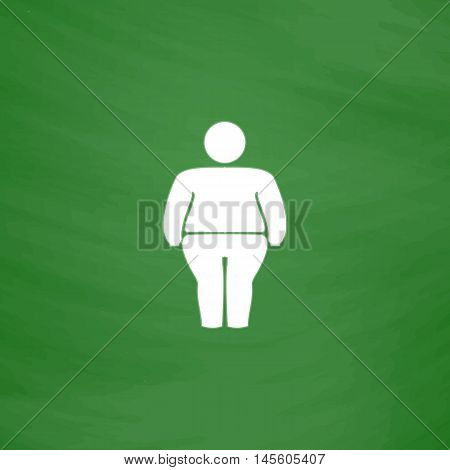 fatty Simple vector button. Imitation draw icon with white chalk on blackboard. Flat Pictogram and School board background. Illustration symbol