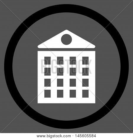 Multi-Storey House vector bicolor rounded icon. Image style is a flat icon symbol inside a circle, black and white colors, gray background.