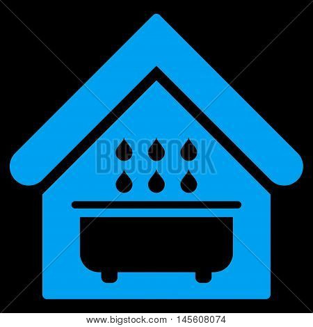 Bathroom icon. Vector style is flat iconic symbol, blue color, black background.