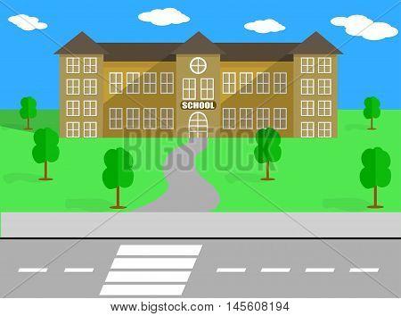 SCHOOL VECTOR BUILDING AND SCHOOLYARD VECTOR ILLUSTRATION
