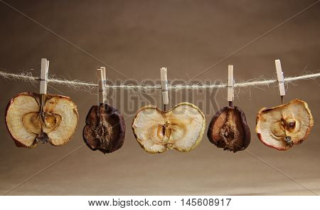 apples and pears dried on a rope with a clothespeg