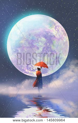 woman with red umbrella standing on water against full moon background, illustration painting