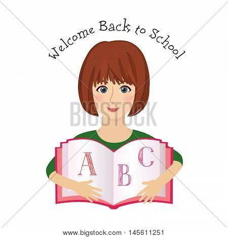 Cheerful smiling little girl with ABC book over white background. Looking at camera. Back to school concept