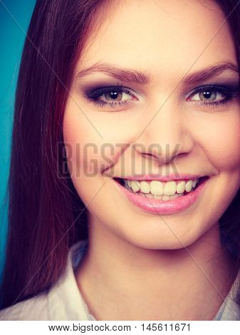 Female charm and emanating beauty. Stunning lovely girl with fabulous alluring night party make up. Portrait of young long haired attractive lady.