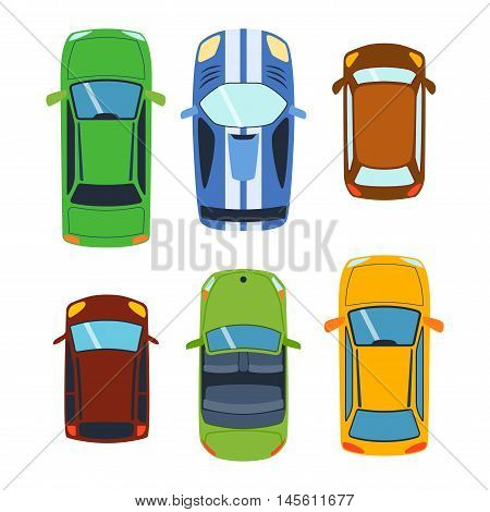 Vector car vehicle set icon top view. From above car top view. Some vehicle transport isolated on white. Transportation vehicle collection design car top view motor van.