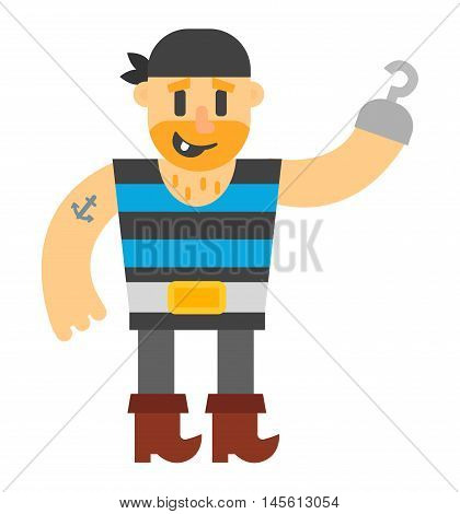 Cartoon pirate vector character isolated on white. Cartoon pirate character. Funny cartoon pirate happy sailor boy costume. Fantasy kid adventure sea treasure man.