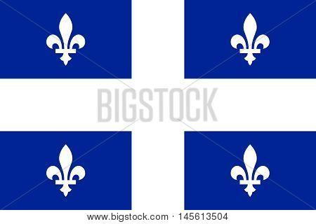 Flag of the Canadian province of Quebec in correct size proportions and colors. Canadian QC patriotic element and provincial official symbol. Canada Quebec banner and background. Vector illustration