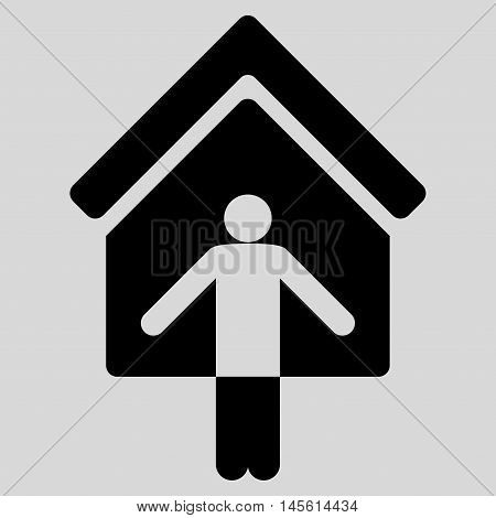 House Owner Wellcome icon. Vector style is flat iconic symbol, black color, light gray background.