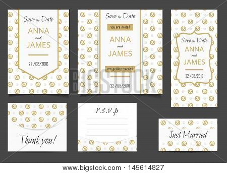 Beautiful wedding set of printed materials with a abstract gold swirl design. Wedding invitation card save the date cards R.S.V.P. and thank you card
