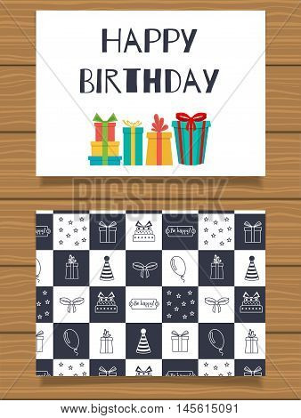 Happy Birthday. Lettering greeting card and its reverse side with an abstract design
