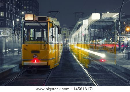 Old Tram At Train Stations in Budapest, Hungary.