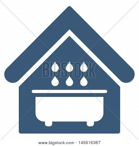 Bathroom icon. Vector style is flat iconic symbol blue color white background.