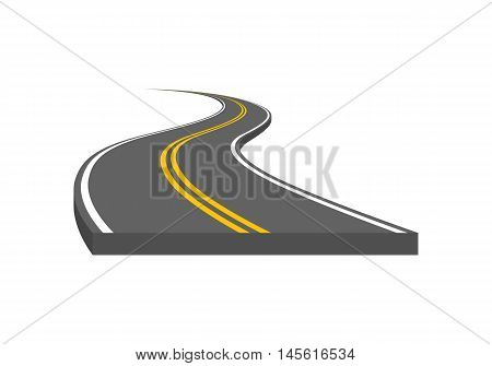 Curved And Ditrection Highway With Markings