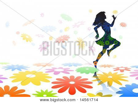 Editable vector silhouette of a carefree girl skipping across colorful flowers
