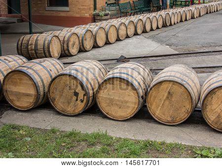 Barrels Roll at Distillery on old tracks