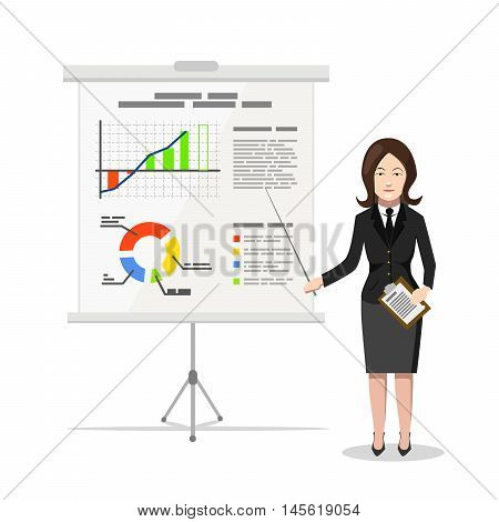 Business Woman standing near whiteboard and pointing on the chart of finance analytics, flat illustration isolated on white
