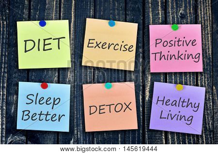 Weight loss message on stickers post on wooden wall