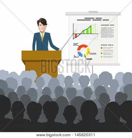 Businessman holds a lecture to an audience with finance charts on placard, flat illustration on white