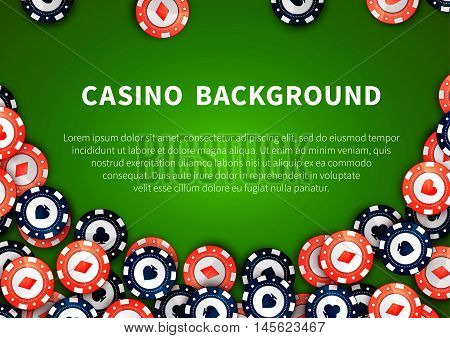 Red and blue casino chips with cards signs on green casino table, background with text template