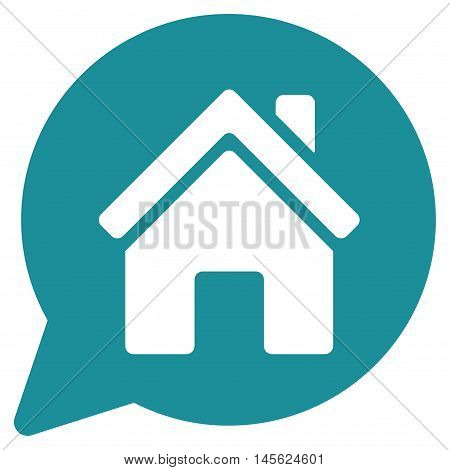 House Mention icon. Vector style is flat iconic symbol, soft blue color, white background.