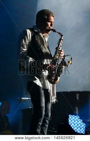 CHICAGO-AUG 26: Saxophonist Mark Rivera performs onstage during a Billy Joel concert at Wrigley Field on August 26, 2016 in Chicago, Illinois.