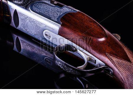 Shotgun On Black Closeup
