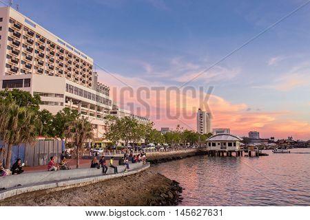 Kota Kinabalu, Malaysia - June 8, 2016: Kota Kinabalu waterfront sunset view