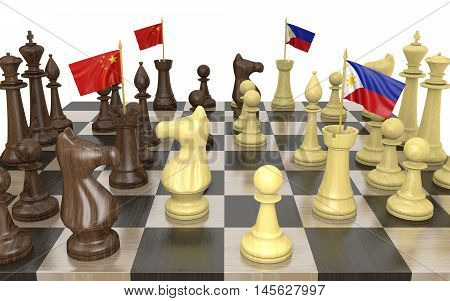China and Philippines foreign policy strategy and power struggle, 3D rendering