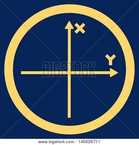Cartesian Axis vector rounded icon. Image style is a flat icon symbol inside a circle, yellow color, blue background. Vector illustration.