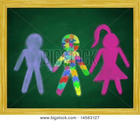 School Kids on a Chalkboard