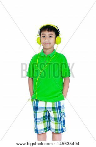 Happy Asian Child With Headphones, Isolated On White Background. Studio Shot.