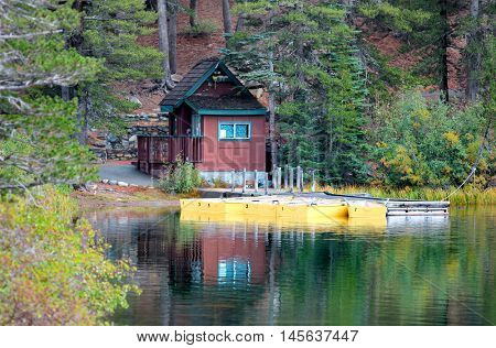 Boats docked at Lake Mamie in Sierra Nevada mountains